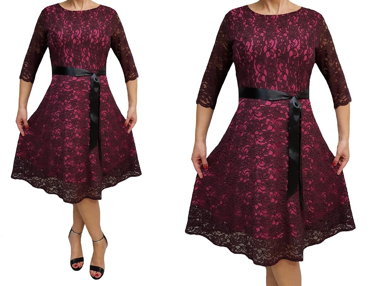 f71af340eb71fb ... Sukienka koronkowa klosz kolory na ślub wesele rozmiary , dla  puszystych piękna na www.kmkrawiectwo ...